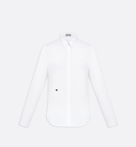 Shirt, bee embroidery, white cotton - Dior