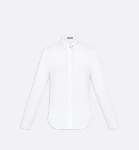 Shirt with black embroidery on the collar, white cotton - Dior