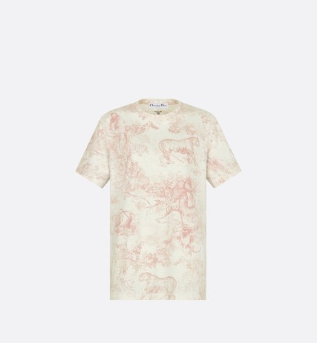 Click here to enlarge the product picture Pink Dioriviera Linen and Cotton T-shirt with Toile de Jouy Print