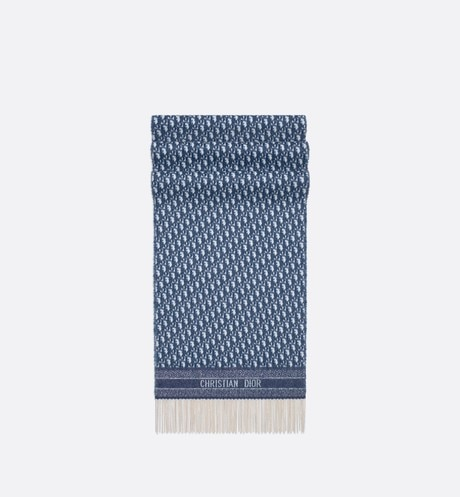 Click here to enlarge the product picture Navy Blue Dior Oblique Cashmere Scarf