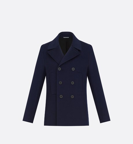 Double-breasted Peacoat, navy blue cashmere Blue front view