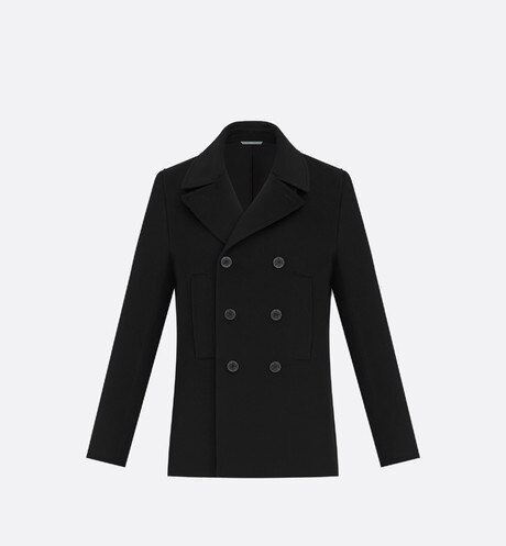 Double-breasted Peacoat, black cashmere Black front view