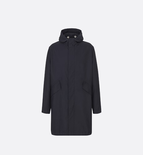 Navy Blue Hooded Technical Cotton Canvas Parka Jacket aria_frontView