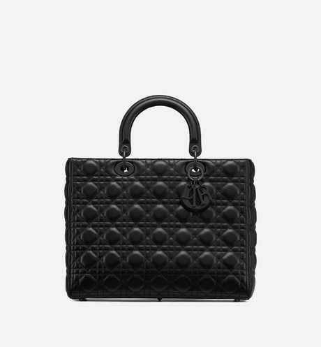 Lady Dior ultra-matte tote bag Black front view