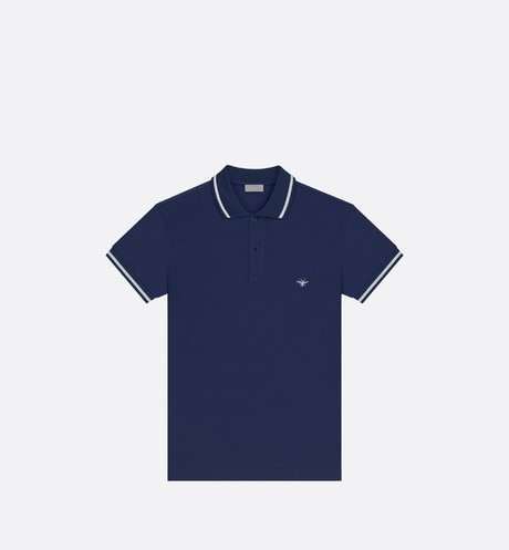 Click here to enlarge the product picture Polo shirt, white bee embroidery, navy blue piqué