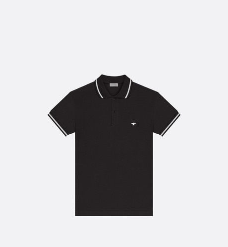Polo shirt, white bee embroidery, black piqué - Dior