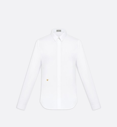 Shirt, gold thread embroidery, white cotton - Dior