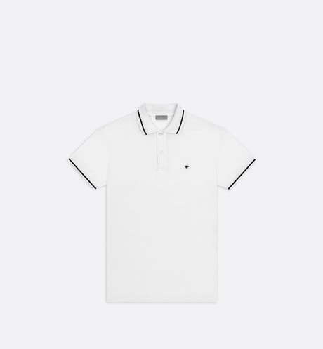 Polo shirt, black bee embroidery, white piqué - Dior