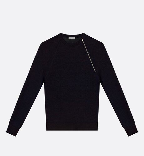 Round neck sweater, zip at the shoulder, black wool - Dior