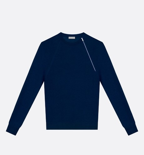 Blue Virgin Wool Sweater with Asymmetric Zip aria_frontView