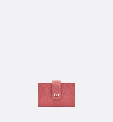 Small Dusty Pink 30 Montaigne Calfskin Card Holder front view