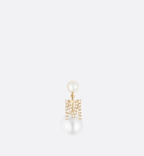 Click here to enlarge the product picture White Crystal Letter 'M' My ABCDior Tribales Gold Finish Earring