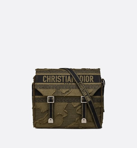 Green Diorcamp Camouflage Embroidered Canvas Messenger Bag front view