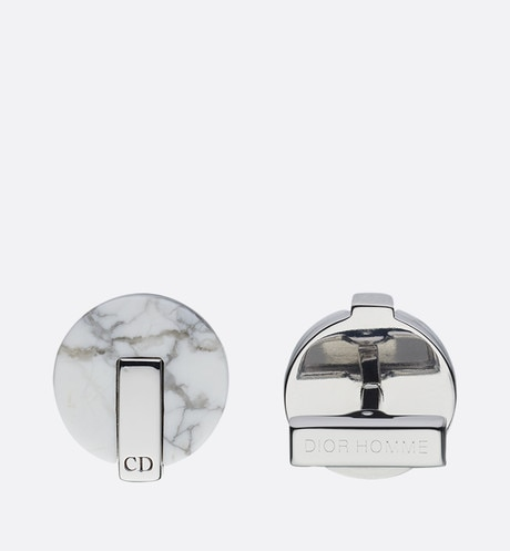 Howlite and silver cufflinks White aria_frontView