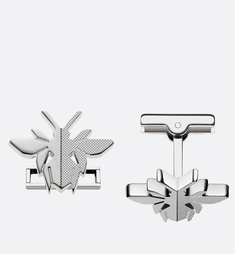 Rhodium finish silver cufflinks Grey aria_frontView