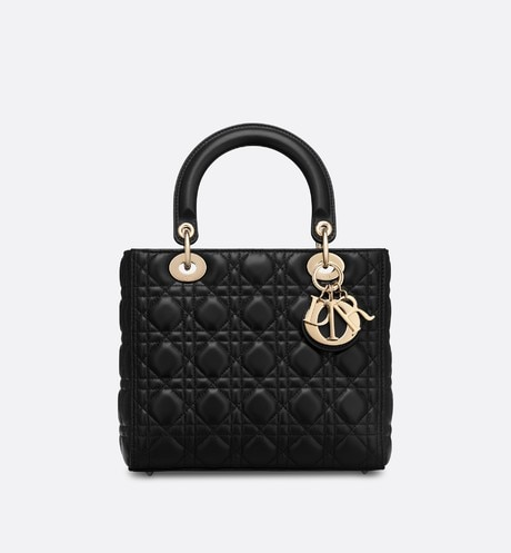 3e97e7f26489 Lady Dior lambskin bag Black front view