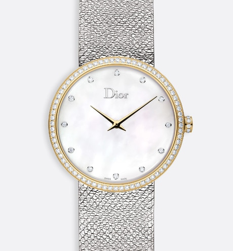 La D de Dior Satine ø 36 mm, movimento al quarzo aria_frontView