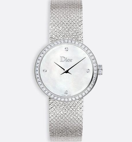 La D de Dior  Satine Ø 25 mm, mouvement quartz Vue de face