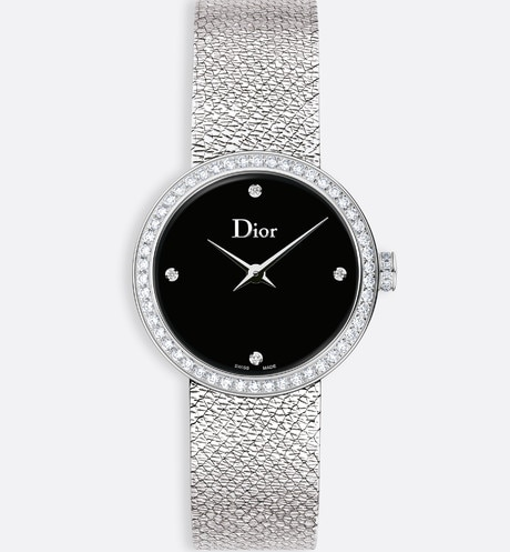 La D de Dior Satine ø 25 mm, quartz movement front view