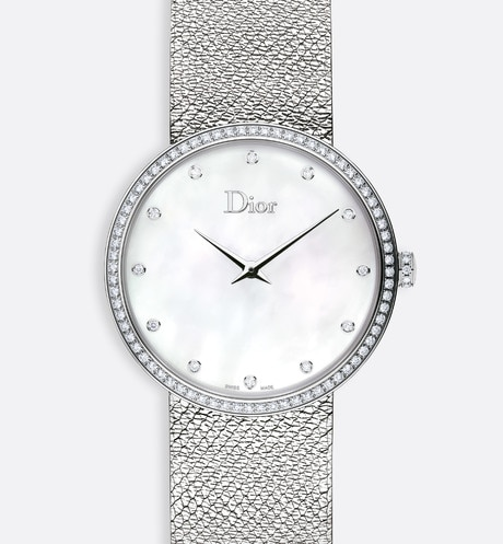 La D de Dior Satine ø 36 mm, movimento a quartzo aria_frontView