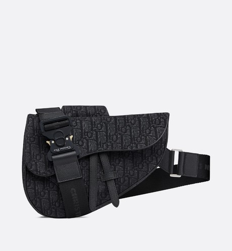 Black Dior Oblique saddle bag aria_frontView