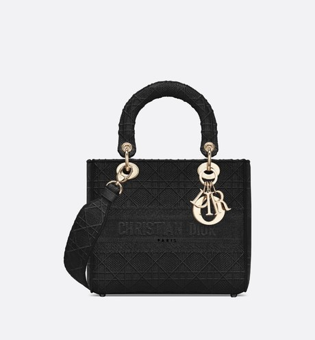 Sac Lady D-Lite Medium noir brodé du motif Cannage aria_frontView