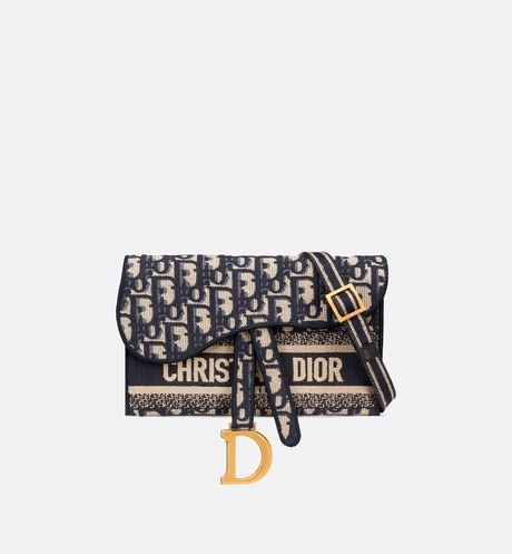 Blue Saddle Dior Oblique Pochette aria_frontView