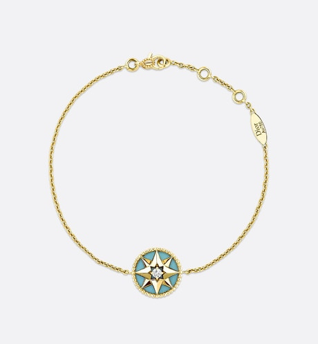Rose des vents bracelet, 18k yellow gold, diamond and turquoise front view