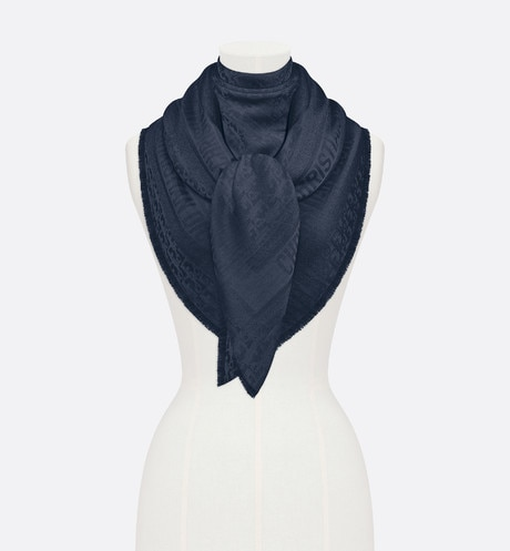 Click here to enlarge the product picture Navy Blue New Dior Oblique Wool-Blend Jacquard Shawl