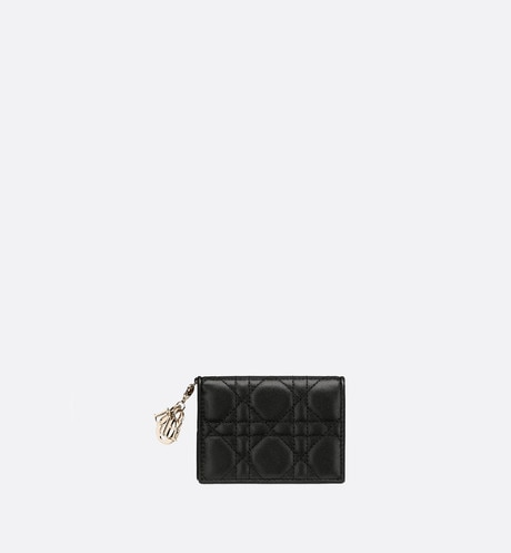 Lady Dior lambskin card holder aria_frontView