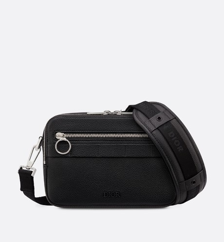 Safari messenger bag in black calfskin front view