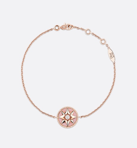 Bracelet Rose des vents, or rose 750/1000e, diamant et opale rose Vue de face