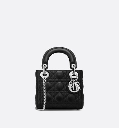 Mini Lady Dior lambskin bag Black front view