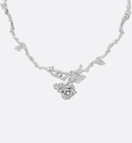 Rose Dior Bagatelle necklace in 18k white gold and diamonds aria_frontView