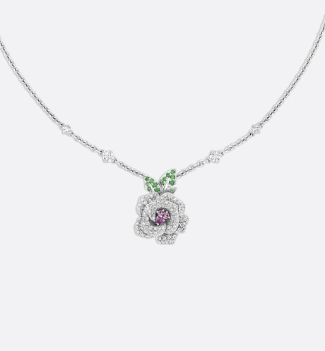 Click here to enlarge the product picture Rose Dior Bagatelle necklace, medium model, in 18k white gold and pink sapphires