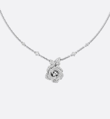 Rose Dior Bagatelle necklace, medium model, in 18k white gold and diamonds front view