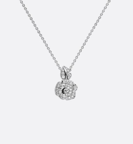 Rose Dior Bagatelle necklace, small model, in 18k white gold and diamonds aria_frontView