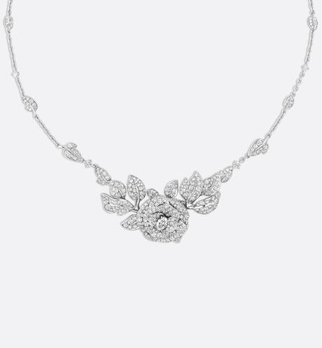 Collier Rose Dior Bagatelle gm, or blanc 750/1000e et diamants Blanc aria_frontView