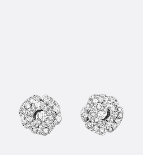 Rose Dior Bagatelle earrings, small model, in 18k white gold and diamonds White front view