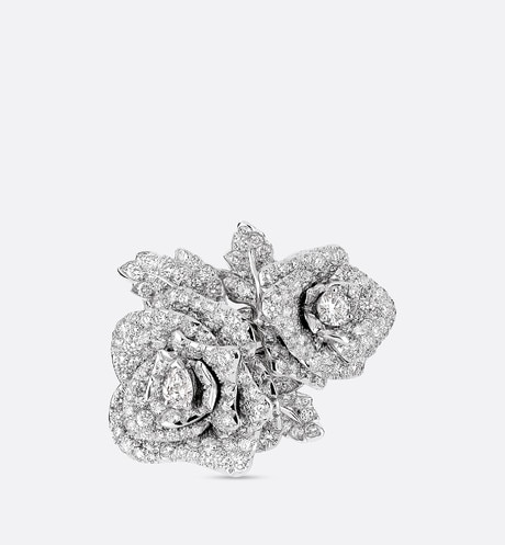 Klik hier om de afbeelding te vergroten Rose Dior Bagatelle-ring, groot model, in 18k witgoud met diamanten