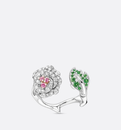 Click here to enlarge the product picture Rose Dior Bagatelle ring in 18k white and pink gold, diamonds, tsavorite garnets and pink sapphires