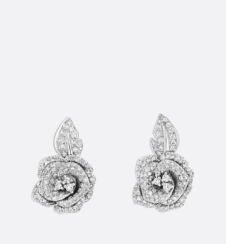 Boucles d'oreilles Rose Dior Bagatelle mm, or blanc 750/1000e et diamants Vue de face
