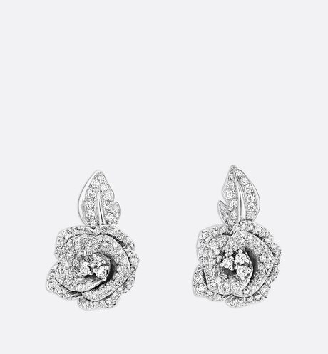 Rose Dior Bagatelle earrings, medium model, in 18k white gold and diamonds front view