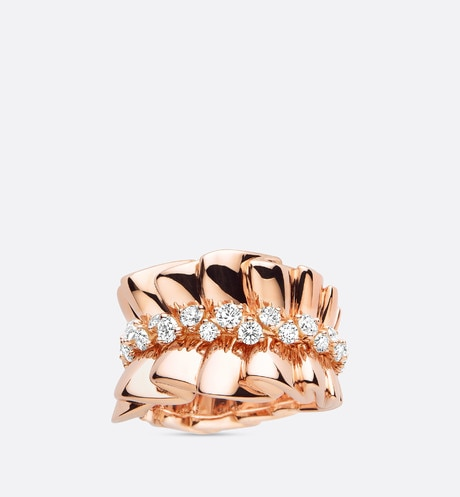 "Archi Dior ""bar en corolle"" ring 18k pink gold and diamonds aria_frontView"