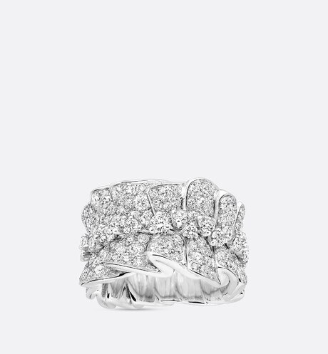 "Archi Dior ""bar en corolle"" ring in 18k white gold and diamonds aria_frontView"