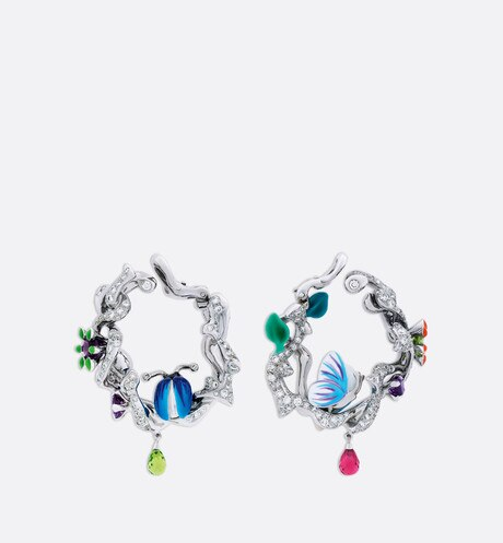 "Boucles d'oreilles Milly Carnivora  ""Epinosa diamants"", or blanc 750/1000e aria_frontView"