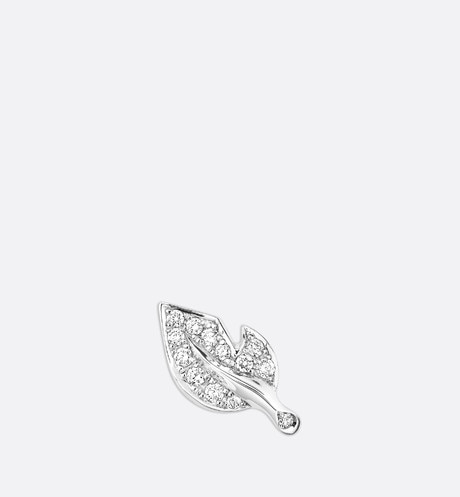 Rose Dior Bagatelle earring in 18k white gold and diamonds White front view