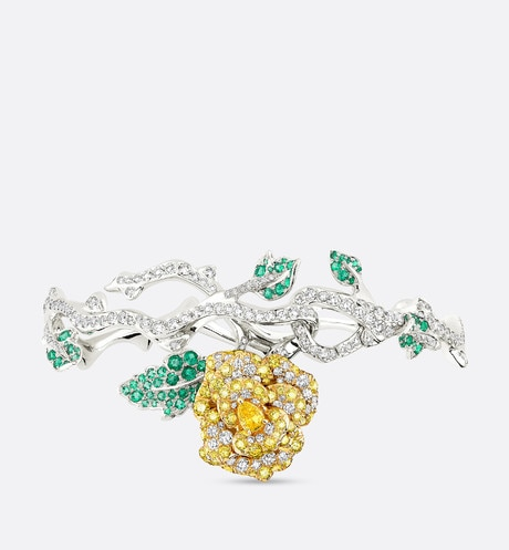 Bracelet Rose Dior Bagatelle, or blanc 750/1000e et diamants jaunes Vue de face