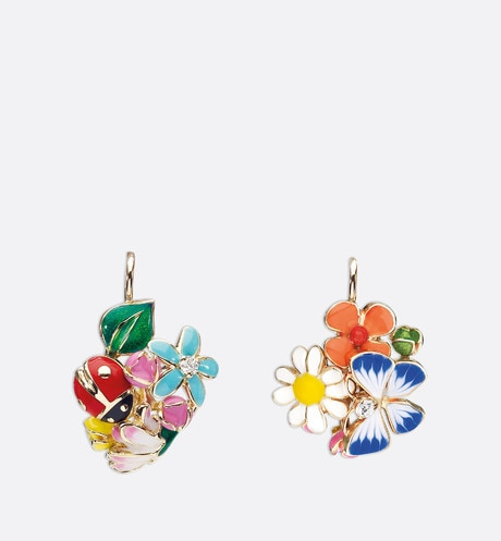 Diorette earrings in 18k yellow gold Multi-coloured front view