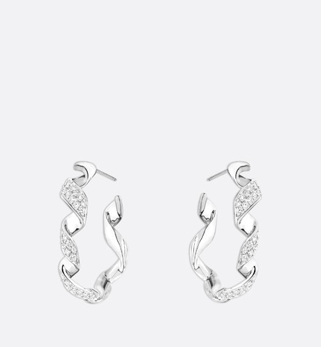 Archi Dior Diorama earrings in 18k white gold and diamonds White front view